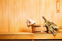 sauna accessories in wooden sauna