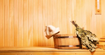 sauna accessories in wooden sauna